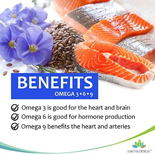 Omega 3 6 9 - 1000mg Omega-3 Fischöl mit Flachsamenöl, Sonnenblumenöl & Vitamin E - Hoch Potentes EPA DHA für Frauen und Männer - 120 Kapseln (2 Monate Vorrat) von Earths Design - 5