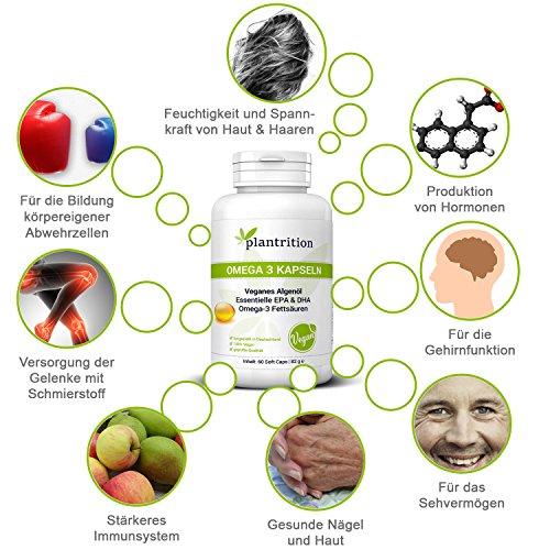 Premium Omega 3 Kapseln VEGAN hochdosiert mit Vitamin E - pflanzliche Alternative zu Fischöl Plantrition OMEGA 3 Algen-Öl mit hochdosiertem EPA & DHA - 60 Soft Caps - 4