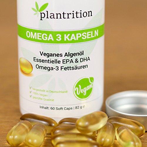 Premium Omega 3 Kapseln VEGAN hochdosiert mit Vitamin E - pflanzliche Alternative zu Fischöl Plantrition OMEGA 3 Algen-Öl mit hochdosiertem EPA & DHA - 60 Soft Caps - 5