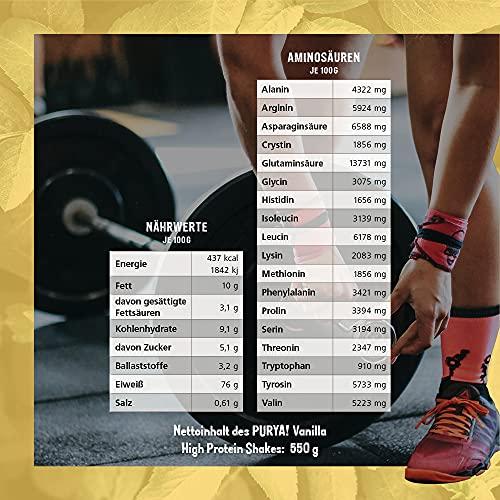 Purya Bio Vegan High-Protein Shake Vanilla, 1er Pack (1 x 550 g) - 5